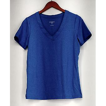 Liz Claiborne Top manga curta decote em V Stretch Athletic Top azul