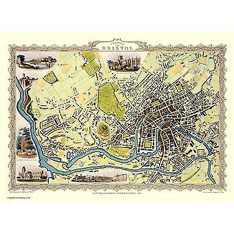 Historia Portal Bristol 1851 karta John Tallis 1000 bit pussel 690mm x 480mm (JG)