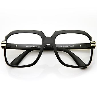 Store farve belagt firkantede overdimensionerede Hip Hop klar linse briller