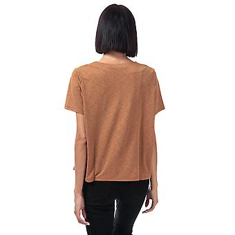 Womens Vero Moda Circa V-Neck Top in Tobacco Brown.