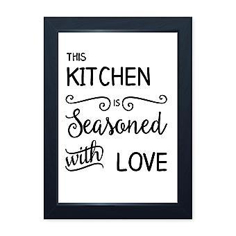 Krydret med kærlighed, kvalitet indrammet print-hjem køkken bake Cook Cafe
