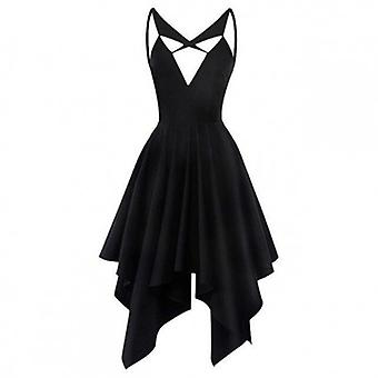 Sleeveless V Neck High Waist Asymmetrical Dress