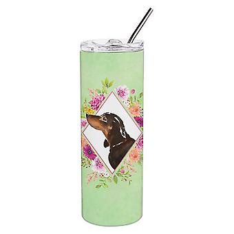 Black and Tan Dachshund Green Flowers Double Walled Stainless Steel 20 oz Skinny