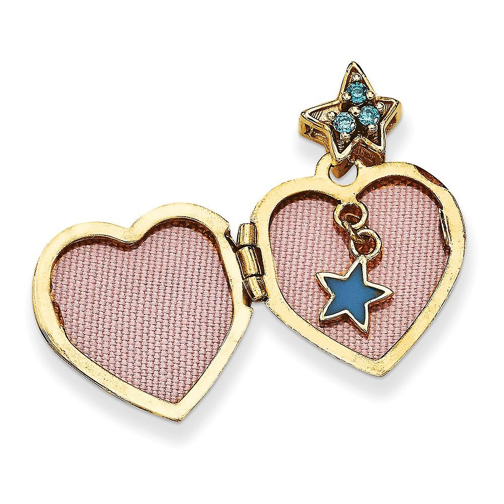 14k Yellow Gold 15mm Love Heart With Blue CZ Cubic Zirconia Simulated Diamond Make a Wish Photo Locket Pendant Necklace
