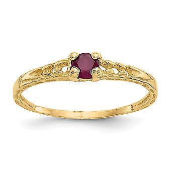 14k Gelb Gold poliert 3mm Ruby für Jungen oder Mädchen Ring - Größe 3