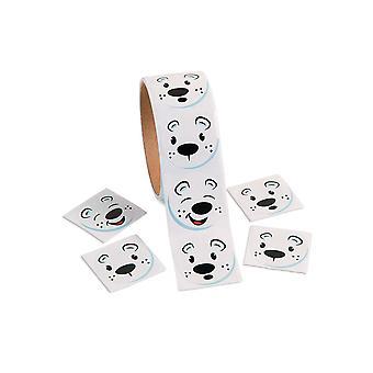 Roll af 100 jul isbjørn ansigt Stickers til børn