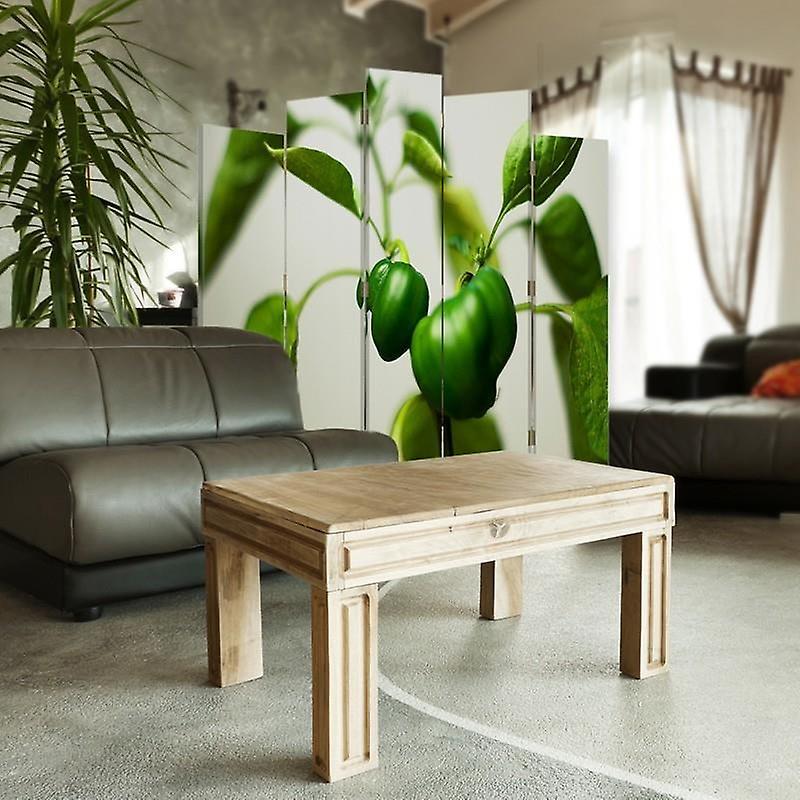 Diviseur de pièce décoratif, 5 panneaux, double-sided, toile, poivrons verts