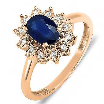 Dazzlingrock Collection Kate Middleton Diana Inspired 10K Diamond & Blue Sapphire Royal Bridal Ring, Rose Gold