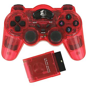 Wireless rf double shock vibration controller for sony playstation 2 ps2 & ps1 - red