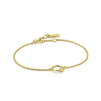 Ania Haie Silver Shiny Gold Plated Orbit Chain Circle Bracelet B001-03G