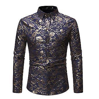 Allthemen Men's Floral gedruckt Revers vier Jahreszeiten Casual Langarm Shirt 3 Farben