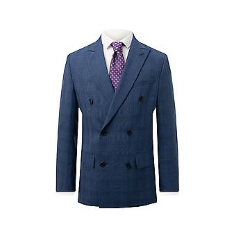 Dobell Mens Blue Check Jacket Regular Fit Double Breasted Peak Lapel