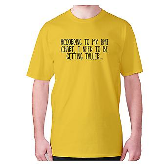 Mens funny gym t-shirt slogan tee workout hilarious - According to my BMI chart, I need to be getting taller