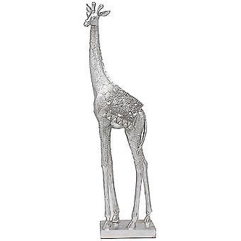 Silver Art Giraffe 43cm Home Ornament Stylish