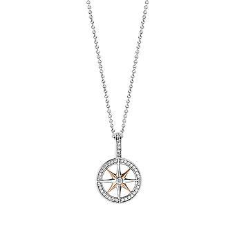 Pendant Ti Sento Shimmering lights 6768ZR - pendant pendant silver Bicolore compass woman