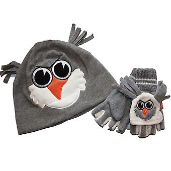 Kids Thermal Fleece Novelty Winter Hat And Flip Mitt Set Set 6-9 Yrs Chick