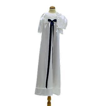Abito di battesimo bianco e bonnet, con blu scuro Bow Ma.v