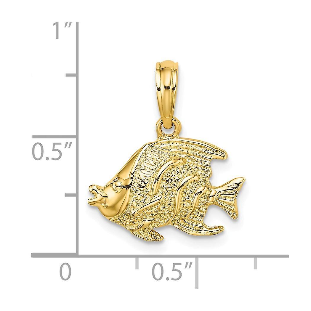 14 k Gold Tier Sealife Fisch hochpolnische und strukturierte Anhänger Anhänger Halskette Schmuck Geschenke für Frauen