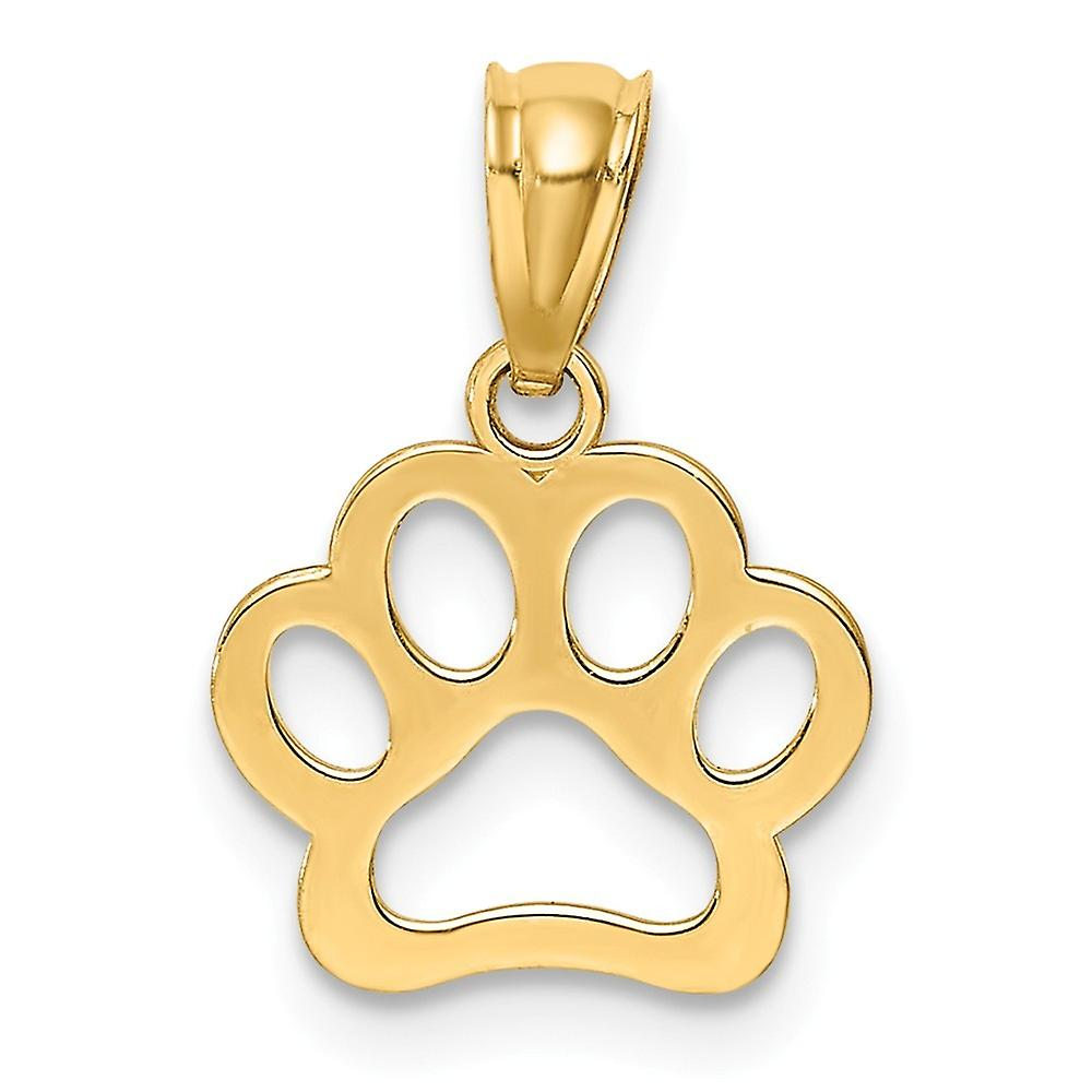 14k Animal Pet Dog Paw Pendant Necklace Jewelry Gifts for Women - .4 Grams