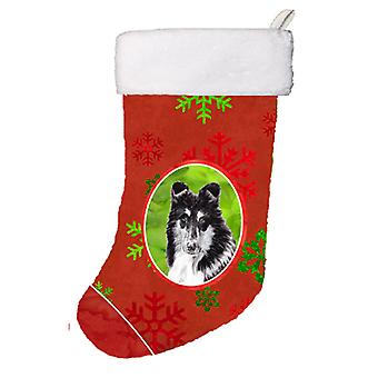 Black and White Collie Red Snowflakes Holiday Christmas Stocking