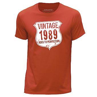 STUFF4 Men's Round Neck T-Shirt/ Vintage Born In 1989/Orange