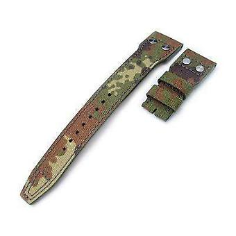 Strapcode fabric watch strap 22mm miltat forest camo nylon iwc big pilot replacement strap, rivet lug