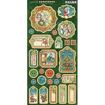 "Christmas Magic Chipboard Die - Cuts 6""X12"" Sheet - Decorative & Journaling"
