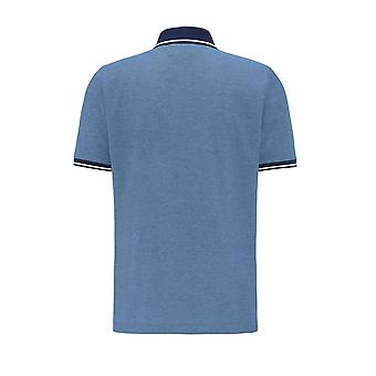 Fynch-Hatton Fynch Hatton 2 Tone Zip Polo Shirt Pacific