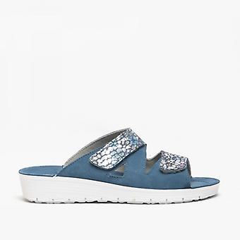 Rohde 1403 Ladies Leather Mule Sandal Blue