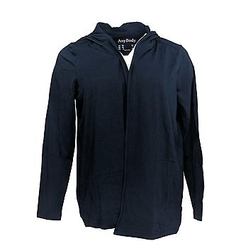 Anybody Women's Top Loungewear Cozy Knit Hooded Cardigan Blue A349790 PTC