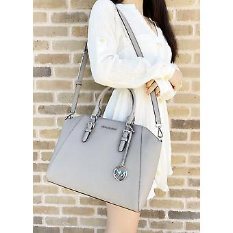 Michael kors ciara large top zip satchel saffiano leather pearl grey