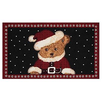 Cojín de reventado de suciedad felpudo rojo de osito de peluche de Navidad negro 45 x 75 cm