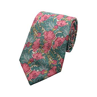 Pink & Green Liberty Art Fabric Floral Print Tie