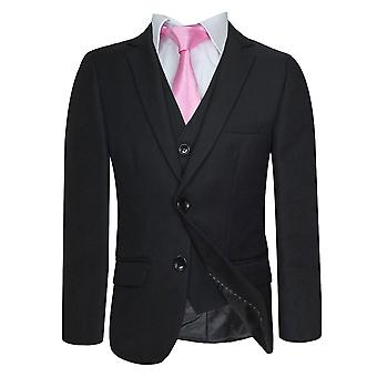 Boys Formal Black Tailored Fit Suit