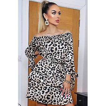 Maggie Animal Bardot Frill Dress - Ladies - Brown