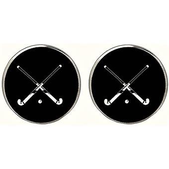Bassin et Brown Hockey Sticks Cufflinks - Noir/Blanc