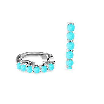 Earrings Turquoise Hoops 18K Gold - White Gold