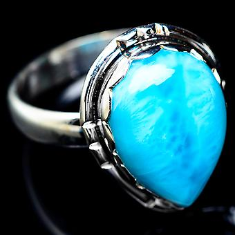 Larimar Ring Size 9 (925 Sterling Silver)  - Handmade Boho Vintage Jewelry RING5572