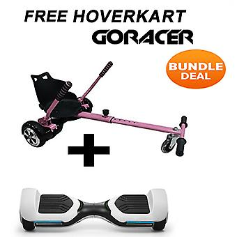 G PRO White Segway with a Racer Hoverkart in Pink