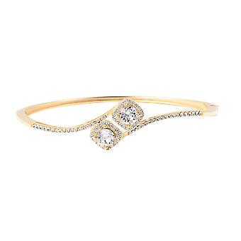 TJC Gemaakt met Swarovski Crystal Bypass Bangle Yellow Gold Plated Sterling Zilver