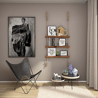 Halatli Regal Farbe Eiche, Ecru Holz, Juta, L75xP9xA125 cm