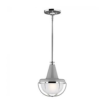 Livinstone Pendant Lamp, Polished Nickel And Glass, Small