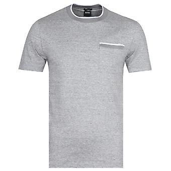 BOSS Tessler Tipped Trim Grey Marl T-Shirt