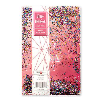 Girls A5 Sparkly Liquid Glitter Pink Hard Cover Lined Notebook