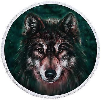 Art Painting Wolf Beach Towel