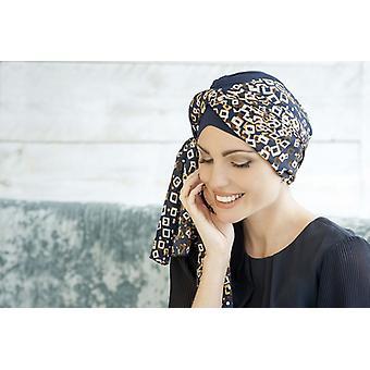 Headgear para pacientes com câncer - Daisy Navy Golden Diamond