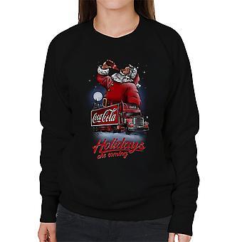 Coca Cola Santa und LKW Urlaub kommen Frauen's Sweatshirt