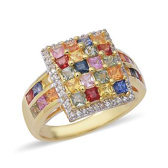 AAA Rainbow Sapphire Cluster Ring Two Tone Gold Plated Silver White Zircon TJC
