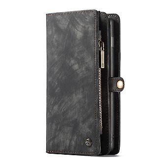 CASEME Samsung Galaxy S10 + retro nahkainen lompakko kotelo-harmaa