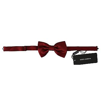 Dolce & Gabbana Men Red 100% Silk Adjustable Neck Butterfly Bow Tie -- FT20943536